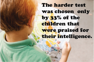 The harder test was chosen by 33% of the children that were praised for their intelligence