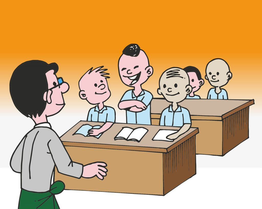 child talking in the classroom